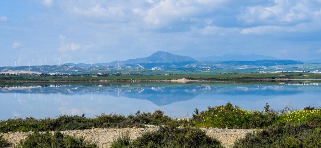 Priveliste catre Muntele Olympos de la Lacul Sarat de langa Larnaca
